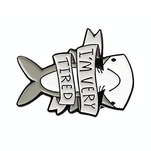 Wansan Enamel Lapel Pin Shark Brooch Pin Party Valentine Brooch Collar Jewelry Gift