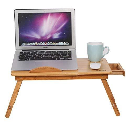 Estink Mesa de cama de bambú, para portátil, para cama, sofá, plegable, con orificios de ventilación, de bambú, con cajón