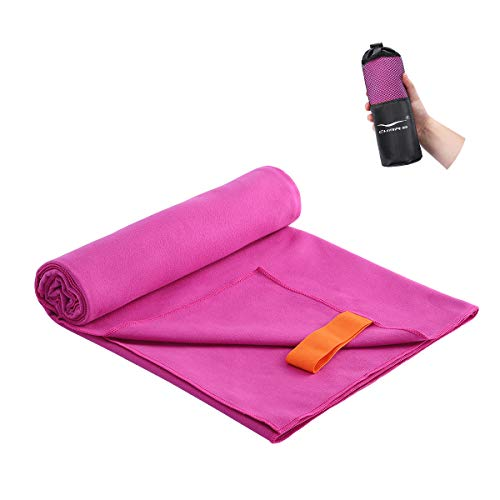 """CHARS Camping Towels Microfiber Sand Free Beach Towel (30"""" x 63"""") with a Carrying Bag Ultra Compact Quick Drying Sports Towel for Kids, Teens, Adults, Travel, Gym, Pool, Yoga, Swimming and Picnic"""