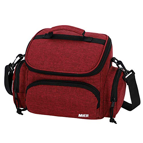 MIER Insulated Lunch Bag Tote for Kids Women Men Small Leakproof Soft Cooler with Shoulder Strap 9 Can Dark Red