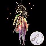 MMTX Unicornio Dream Atrapasueños con luz LED Hecho a Mano Dream Catcher con Plumas, Colgar en la Pared Colgante Decoración Romántica Accesorio Adornos Artesanía para el Dormitorio de Las Niñas Rosado