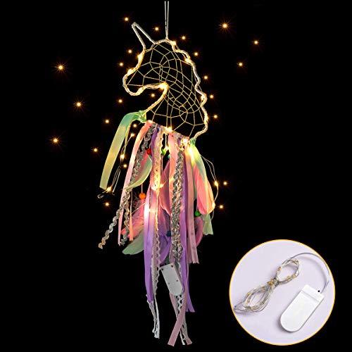 MMTX Dream Acchiappasogni Unicorno a LED, Decorazione per la Casa, Fiore Fatto a Mano Piume Acchiappasogni per Ragazze Camera da Letto Decorazione da Appendere a Parete Ornamento Craft Regalo