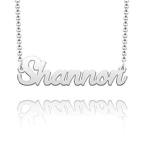 CLY Jewelry Name Necklace of Silver Plated Customized with Personalized Gift for Women Girls Couple Silver