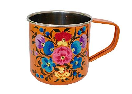 Enamel Camping Mugs / Hand Painted Camping Mug / Enamelware Mug / Enamel Mug (Orange)