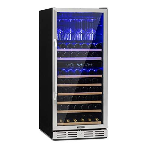 Klarstein Vinovilla - Weinkühlschrank, Getränkekühlschrank, Touch-Bediensektion, LED-Innenbeleuchtung, 2 Kühlzonen, Volumen: 313 Liter, 11 Holzeinschübe, Edelstahlfront