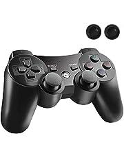 MINGYI PS3 コントローラー ワイヤレス 無線 ゲームパッド 振動機能 人間工学 USB ケーブル アシストキャップ 2枚付き