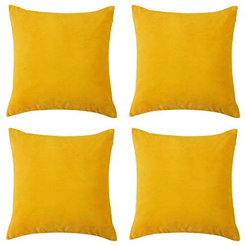 RENMEI Yellow Cushion Cover en Velvet for Sofa 18x18 Inches 45cm x 45cm Smooth Soft Throw Pillowcases for Bedroom with Invisible Zipper Set of 4