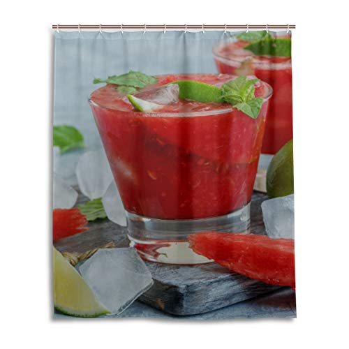 """HAOLONGG Red Delicious Watermelon Juice Best Bathroom Curtain Durable Waterproof with 12 Hooks Kids Bath Curtain for Bathtub Showers 60""""x72"""" Machine Washable"""