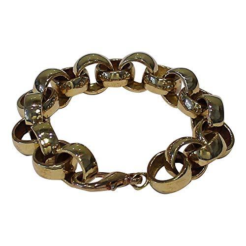 8.5 INCH Belcher Bracelet Jewellers Bronze 23g dipped in 9ct Gold.14 x 6 mm