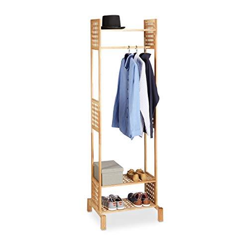 Relaxdays Porte-manteaux en bois noyer portant vêtement entrée couloir chaussures HxlxP: 190 x 60 x 50 cm, nature
