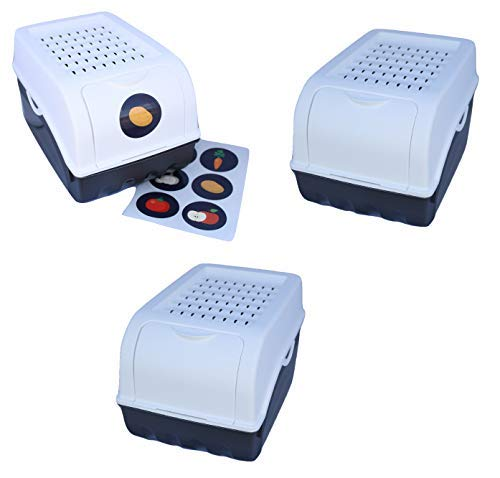 Rival 3 Vorratsdosen (weiß) für Kartoffeln, Gemüse, Obst, Zwiebeln, Aufbewahrungsbox mit Deckel + Aufkleberset