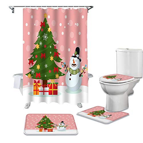 Cloud Dream Home 4 Pcs Shower Cuatain Sets with Non-Slip Rug Christmas Tree,Pink,Snow,Snowman Decor Toilet Lid Cover Bath Mat 66 x 72 inch Shower Curtain with Hooks for Bathroom -Large