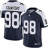 alaxdsd Cōw-bǒ.ys Sudadera de Manga Corta de Jersey NFL para Hombre Camiseta Transpirable Ropa para fanáticos Camiseta Tyrone Crawford#98 Exterior/blackB/S