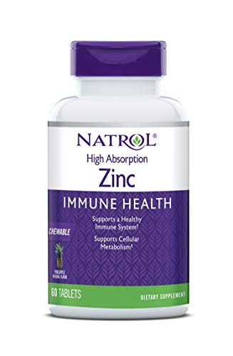 Natrol High Absorption Zinc, Supports Immune Health and Cellular Metabolism with AbsorbSmart™ Technology, Pineapple Flavor, Chewable Tablets, 60 Count