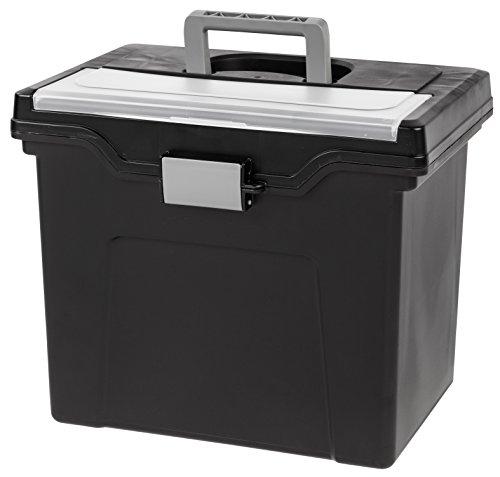 IRIS USA, Inc. HFB-24E-TOP Portable Letter Size File Box with Organizer Lid, 4 Pack, Black, Large