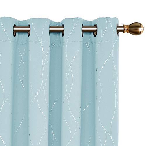 Deconovo Sky Blue Blackout Grommet Curtains Pair Thermal Insulated Window Curtains with Wave Line Dots Printed Pattern for Kids Room 52 x 84 Inch Sky Blue 2 Panels