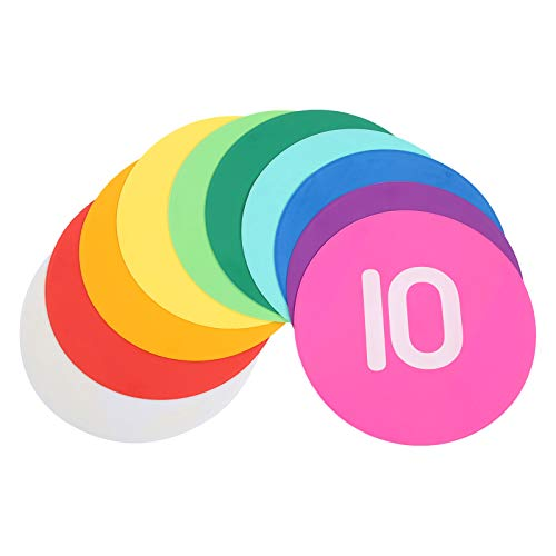 Marcador de número de entrenamiento de baloncesto redondo, conjunto de letreros numéricos Disco de marcador de entrenamiento de fútbol antideslizante numerado para ejercicios y lecciones escolares