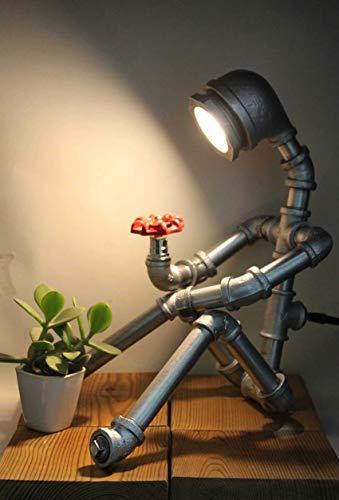 Sunerty Edison Industrielampen Vintage Tischlampe Rohr Lampe Wasserrohr Industrie Tischleuchte Retro Steampunk Handwerk Tischleuchte