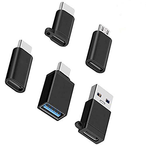 Adaptadores KLJ USB-C, USB tipo C a micro USB (macho a hembra a hembra a macho) USB 3.0 (macho a hembra a hembra a macho) Paquete de 5, negro