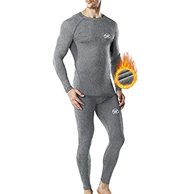 MEETWEE Thermal Underwear for Men, Winter Base Layer Set Tops & Long Johns Compression Wintergear for Heat Retention Gray