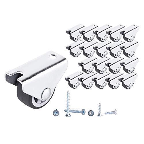 (Packung mit 20 Stück) GUMMI Festrollen 30mm Hochleistungsrollen Nicht schwenkbare Radrollen für Möbeltischwagen (20)