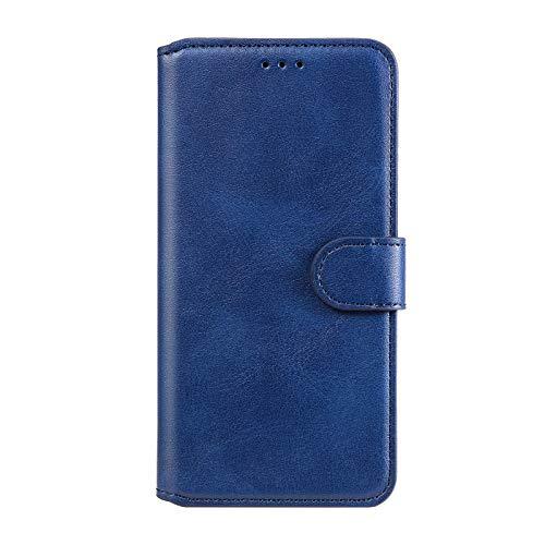 TOPOFU Coque pour Samsung Galaxy S10 Lite/A91, Etui Cuir Véritable Samsung Galaxy S10 Lite/A91, Housse Portefeuille Rangements Cartes Fonction Support Anti-Choc Coque TPU-Bleu