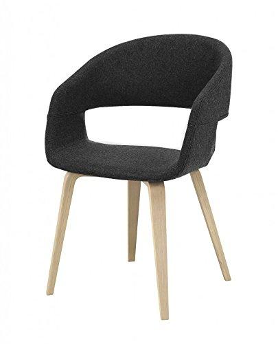 Interstil NOVA Esszimmerstuhl mit Schalensitz in Stoff Filzoptik dunkelgrau