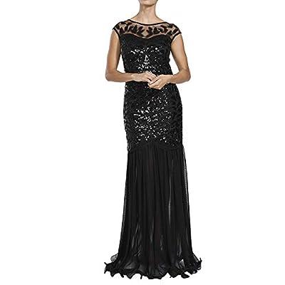 MAYEVER Women 's 1920s Black Sequin Gatsby Maxi Long Ball Evening Prom Dress with Headband