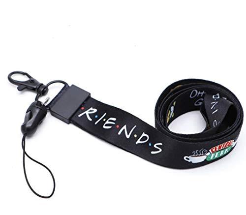 Lanyard Friends Negro Cordón para el Cuello Tarjeta Identificativa para Llaves Móvil Mascarilla Teléfono | Llavero para no Perder las Llaves | Regalo Original