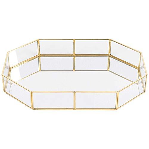 flower205 Tablett Spiegel, Vintage Glas Tablett Gold Spiegel Tablett Parfüm Tablett Spiegel Waschtisch Kommode Tablett verzierten Tablett Metall dekorative Tablett Tablett Schmuck Parfüm Veranstalter