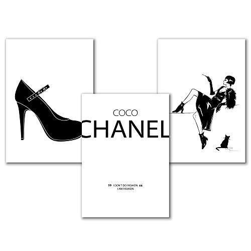 Fashion Bild mit Zitat von Coco Chanel, Beauty Poster Set, Spruch Poster Schwarz-Weiß, Kunstdrucke Wohnzimmer, Schlafzimmer Wanddeko, Badezimmer Deko