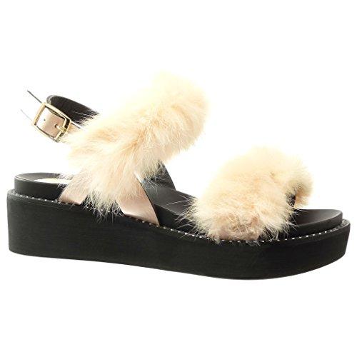 Angkorly - Damen Schuhe Sandalen Mule - Plateauschuhe - Bommel - Pelz Keilabsatz high Heel 5 cm - Rosa WD1735 T 39
