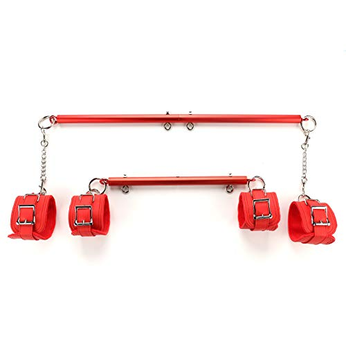 2pcs Frosted Red Expandable Spreader Bar with 4 Adjustable Fur Red Straps...