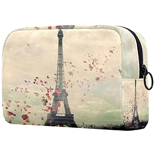 Neceser de Maquillaje para Mujer Bolso Organizador de Kit de Viaje cosmético,Papel Pintado de París