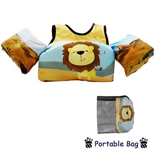 VIEKUU Schwimmflügel Schwimmwesten mit Schultergurt für Kinder von 2-6 Jahre 15-25kg Schwimmweste für Kleinkinder Schwimmen zu Lernen Schwimmhilfe für Jungen und Mädchen, Gelb Löwe