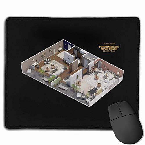 Mauspad James Bond Goldfinger Grundriss Schreibtisch Mousepad 11,8x9,8 Zoll rutschfeste Gummibasis, Tastaturpadmatte für Computer/Laptop