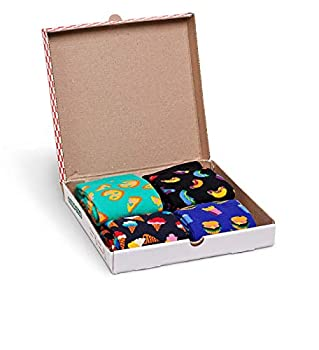 Happy Socks Gift Boxes for Men Women | Colorful Fun Unique Themed Patterns | Premium Cotton Sock in 2 sizes 9-11 10-13  Junk Food 4 Pack