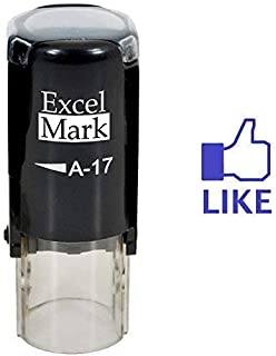 Thumbs Up Like - ExcelMark Self-Inking Round Rubber Teacher Stamp - Blue Ink