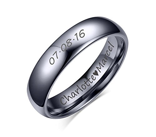 Custom Personalized Tungsten Carbide Domed Wedding Anniversary Matching Couple Ring Set for Him,Size 10