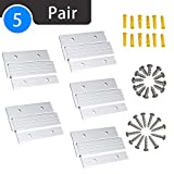 French Cleat Picture Hanger 4' Aluminum Z Clips Interlocking Wall Mounting Bracket Hardware Kit for Hanging Mirrors, Panels, Shelf,Headboards, Artwork, Cabinet, Whiteboard, Art Frames (5 Pairs)