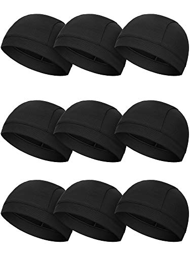 SATINIOR 9 Pieces Helmet Liner Skull Caps Sweat Wicking Cycling Skull Hat Cooling Beanie Hat for Men Women Running Cycling Surfing Doing Sports (Black)