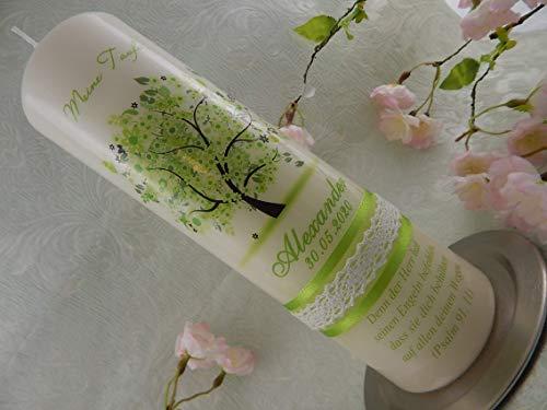 Taufkerze Kommunionkerze Baum Vintage grün silber Jungen Mädchen Lebensbaum Größe 250x70 mm Taufe Original Design TKR809