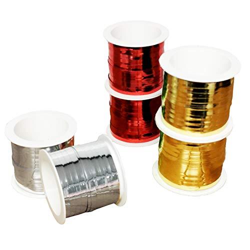 Land-Haus-Shop Geschenkband Set 6 Rollen 3 Farben Weihnachten Kräusel Ringel Band 20 m je Rolle Rot Gold Silber Gesamt120m (EUR 0,05 / M)