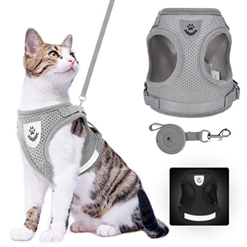Cat Harness and Leash Set - Reflective Escape Proof Cat Harness for Kitties Daily Outdoor Walking with Soft Breathable Mesh Chest Strap and Durable Leash, Grey