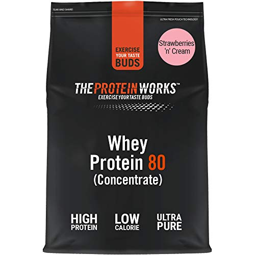 THE PROTEIN WORKS Whey Protein 80 (Concentrate) Powder | 82% Protein | Low Sugar, High Protein Shake | Strawberries 'n' Cream | 500 g