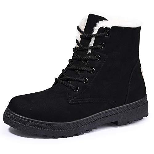 Susanny Suede Flat Platform Sneaker Shoes Plus Velvet Winter Women's Lace Up Black Cotton Snow Boots 9.5 B (M) US