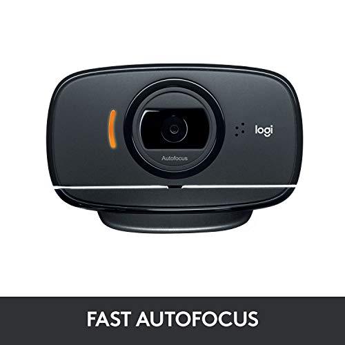 Logitech C525 Webcam, HD 720p, 69° Sichtfeld, Autofokus, 360° Schwenkradius, USB-Anschluss, Zusammenklappbar, Universalhalterung, Für Skype, FaceTime, Hangouts, etc., PC/Mac/ChromeOS/Android - Schwarz