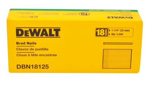 DEWALT Brad Nails, Heavy Duty, 18GA, 1-1/4-Inch, 5000-Pack (DBN18125)