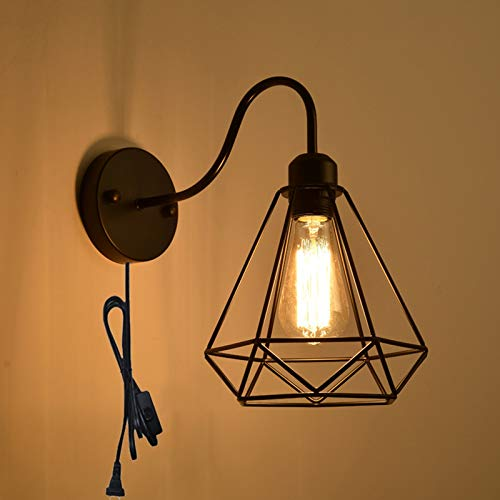 QEGY Aplique de Pared Vintage Industrial con Cable, Retro Negra Lámpara de Pared Sala de Estar con Interruptor, E27 Jaula Luz de Pared con Enchufe, para Dormitorio Pasillos Iluminación