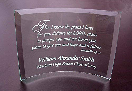 Personalized Etched Glass Achievement or Graduation Plaque, Jeremiah 29 11 Beveled Glass Crescent
